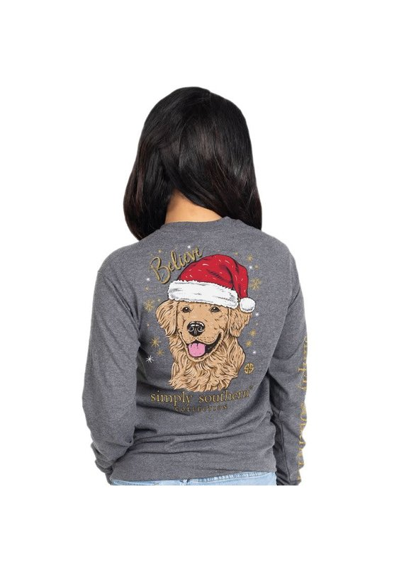****Simply Southern Long Sleeve Christmas Santa Dog