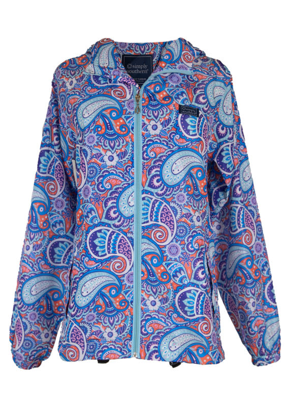 ****Simply Southern Rain Zip Up Jacket Paisley