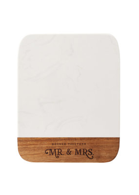 ****Mr & Mrs Marble and Wood Cutting Board