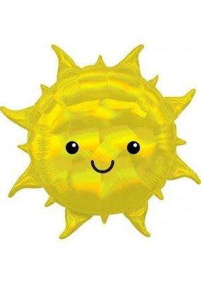 "****Smiling Iridescent Sun Shape 27"" Mylar Balloon"