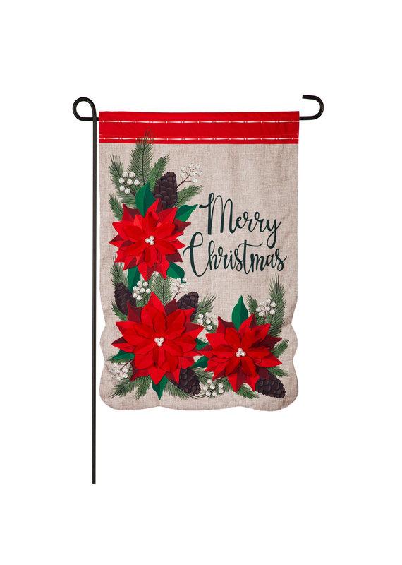 ****Christmas Poinsettia Floral Garden Linen Flag