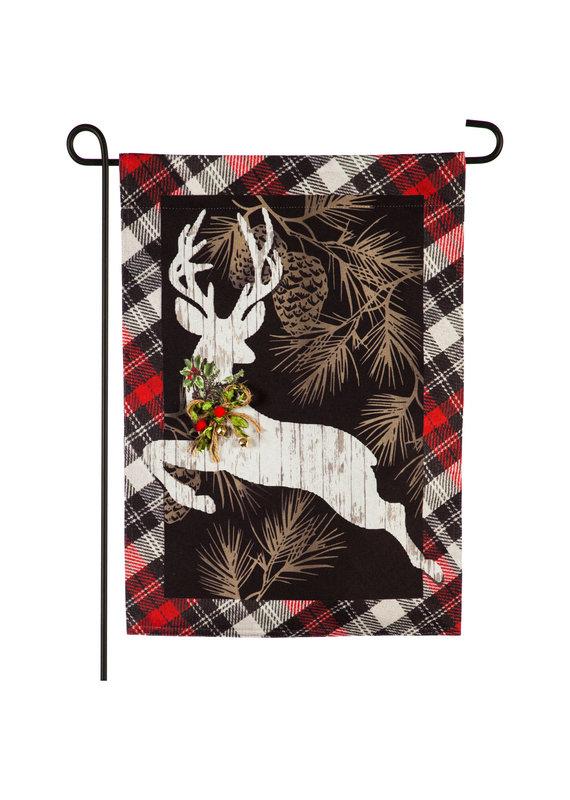 ****Woodgrain Reindeer Garden Linen Flag
