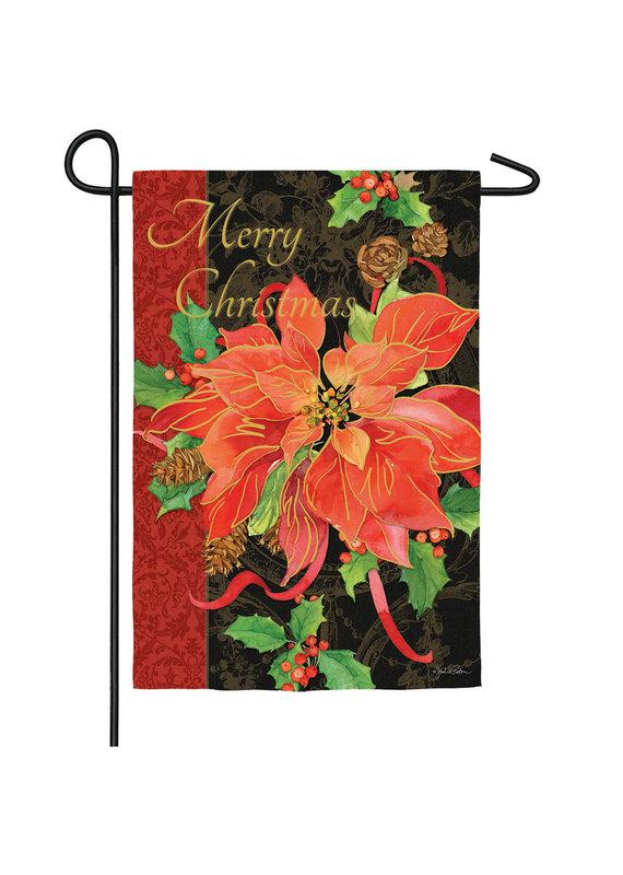 ****Christmas Poinsettias Garden Suede Flag
