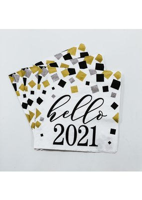 ****Hello 2021 Gold & Silver New Year Lunch Napkins 16ct