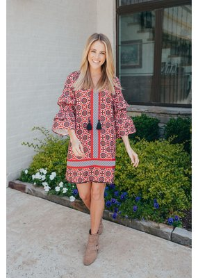 ****Simply Southern Bell Sleeve Ogee Red Dress