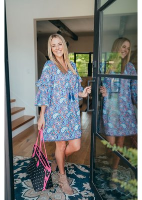 ****Simply Southern Bell Sleeve Paisley Dress