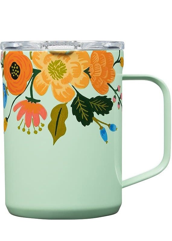 Corkcicle ****Corkcicle Riffle Paper Lively Floral Mint 16oz  Coffee Mug