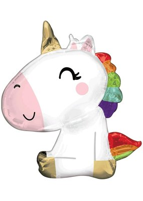 "****Satin Sitting Unicorn 29"" Mylar Balloon"