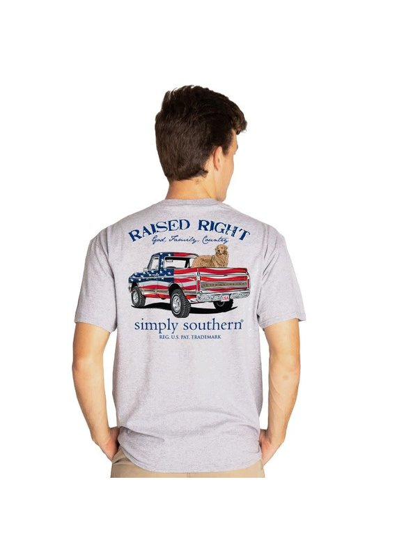 ****Simply Southern Short Sleeve Truck Heather Gray