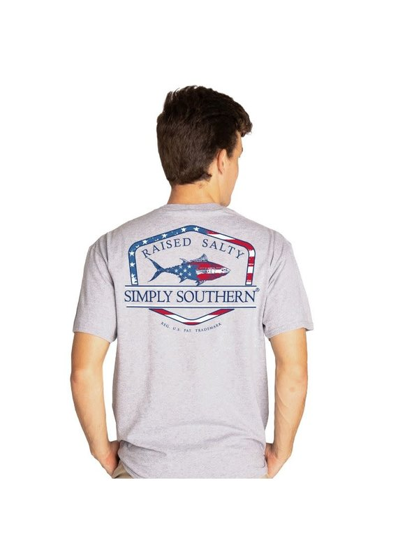 ****Simply Southern Short Sleeve Flag Fish Heather Gray