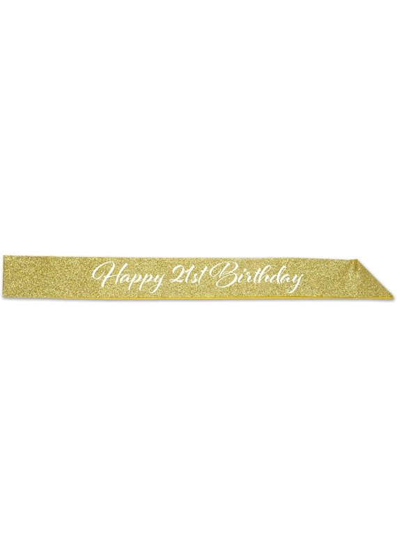 ****Gold Glitter Happy 21st Birthday Sash