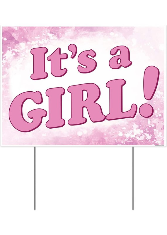 "****It's a Girl Plastic Yard Sign 12""x 16"""