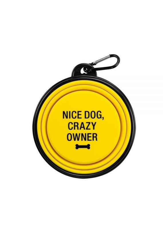 About Face Designs *****Nice Dog Crazy Owner Silicone Dog Bowl