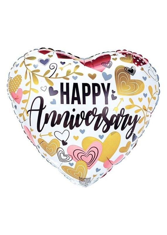 "****Anniversary Metallic Hearts & Leaves 17"" Mylar Balloon"