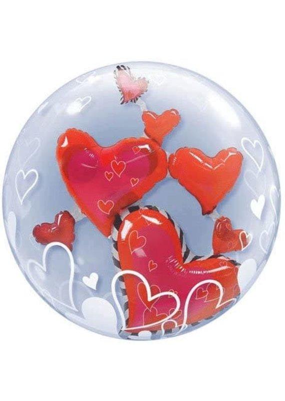 ****Lovely Floating Hearts Double Bubble Balloon