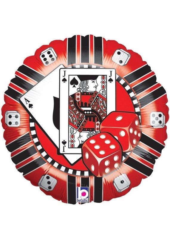 "****Casino Cards Dice 18"" Mylar Balloon"