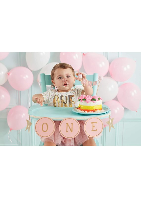 ****Pink 1st Birthday Cake Topper and Banner
