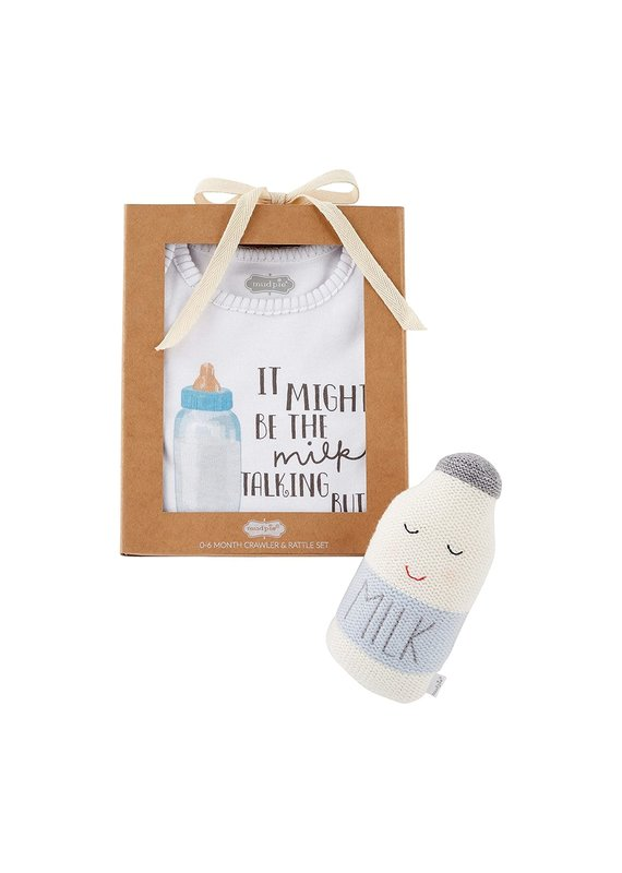 ****Blue Milk Onesie Knit Rattle Set (0-6month)