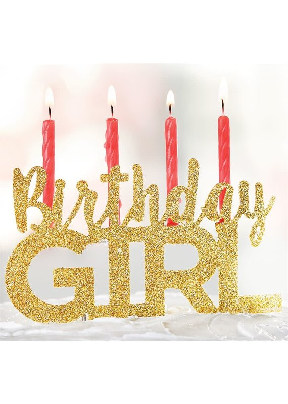 ****Birthday Girl Gold Glitter Cake Topper