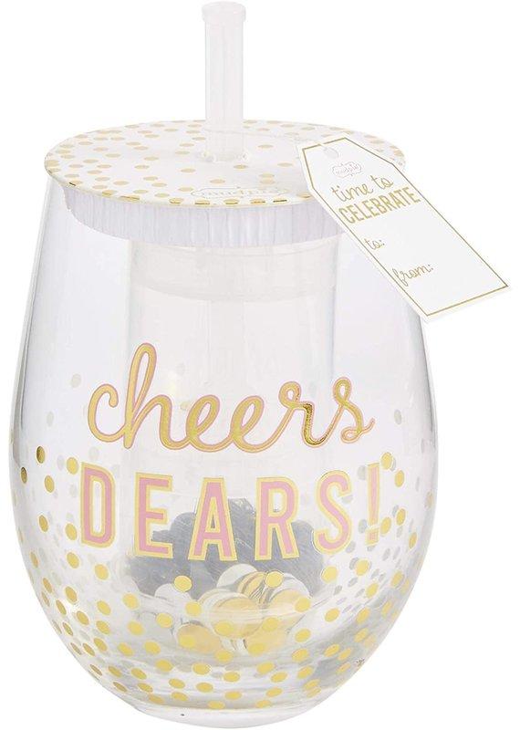 ****Blush Confetti Wine Glass