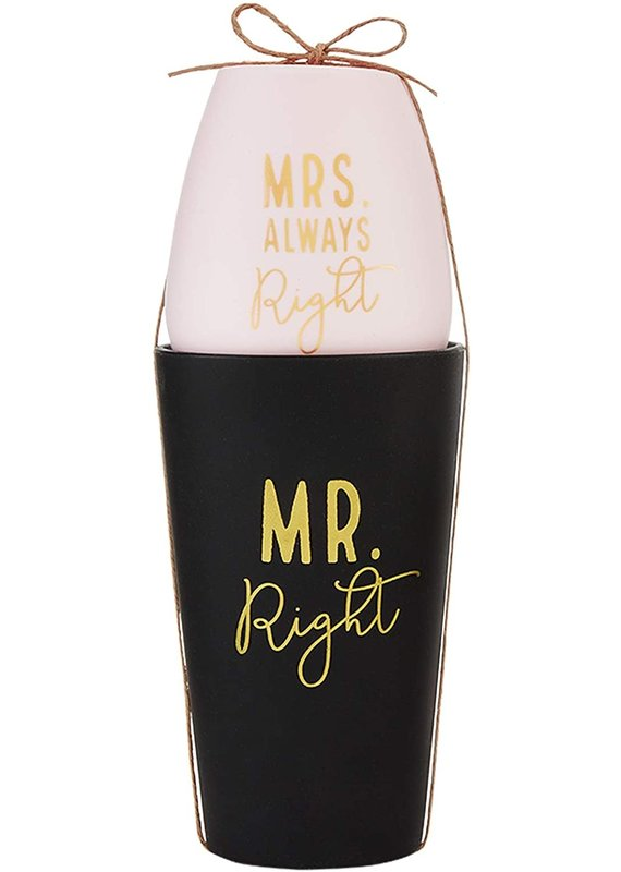 ****Mr and Mrs Right Silicone Wedding Glass See