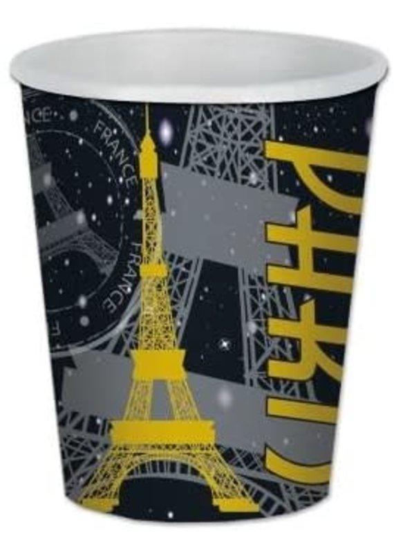 ****Paris Black & Gold 9oz Hot Cold Cups 8ct