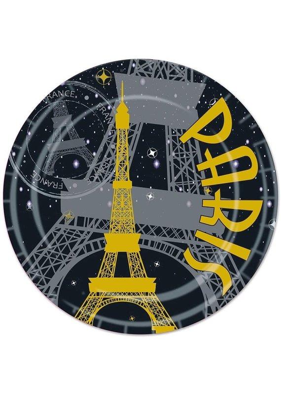 "****Paris Black & Gold 9"" Dinner Plates 8ct"