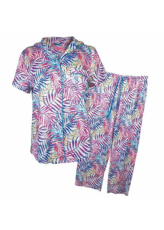 ****Simply Southerns PJs Button Up Palm Leaf