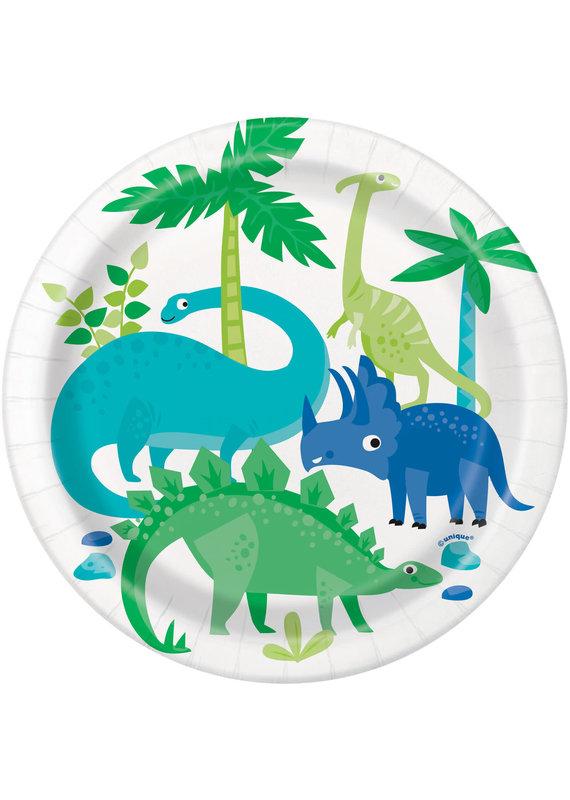"****Blue & Green Dinosaur 7"" Dessert Plates"