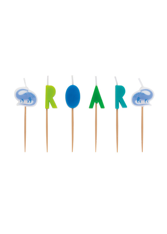 ****Blue & Green Dinosaur Roar Pick Candles
