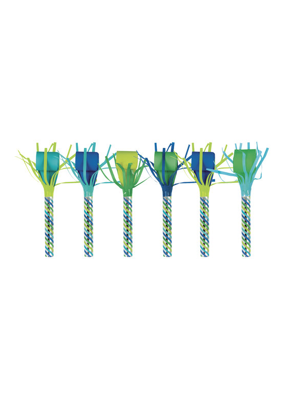****Blue & Green Dinosaur Blowouts 6ct