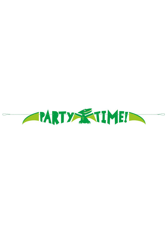 ****Blue & Green Dinosaur 5ft Party Time Banner