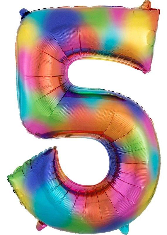 """****Rainbow Number 5 Balloon 34"""" Tall"""