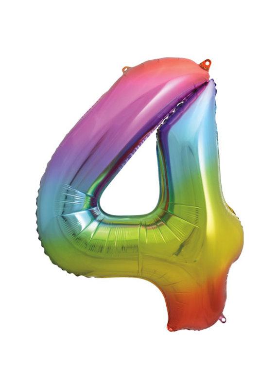 """****Rainbow Number 4 Balloon 34"""" Tall"""