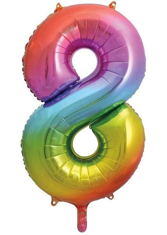 """****Rainbow Number 8 Balloon 34"""" Tall"""