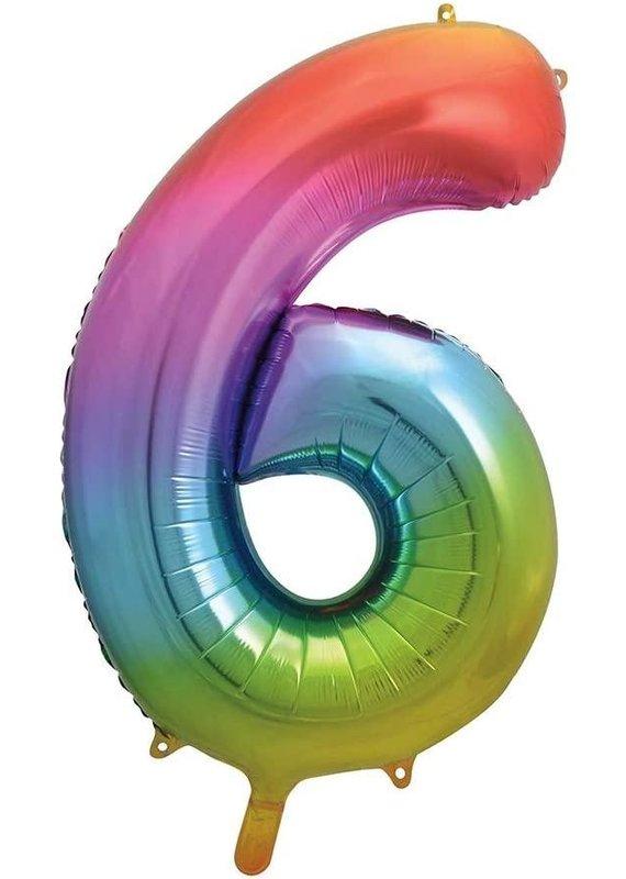 """****Rainbow Number 6 Balloon 34"""" Tall"""