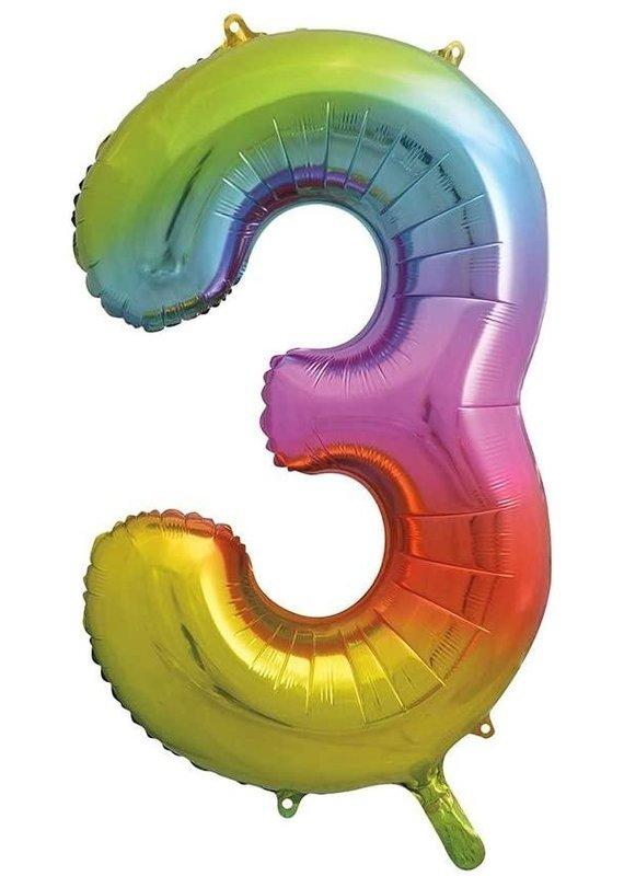 """****Rainbow Number 3 Balloon 34"""" Tall"""