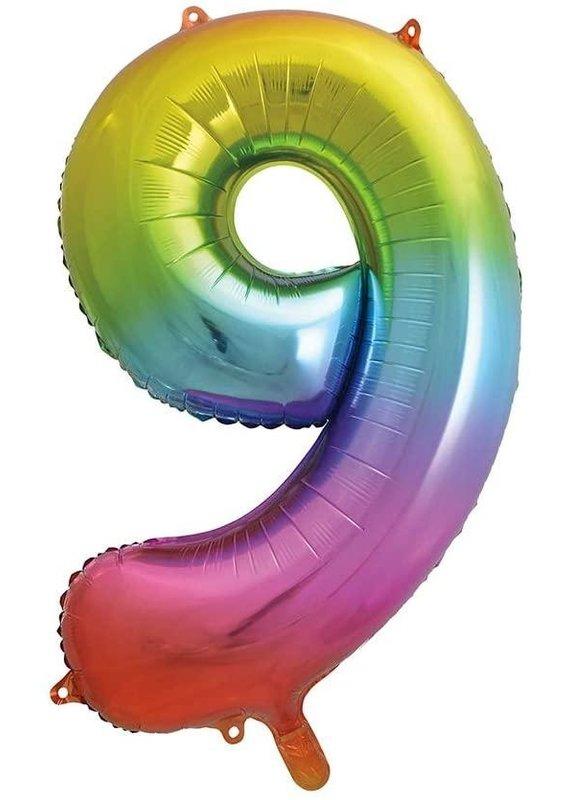 """****Rainbow Number 9 Balloon 34"""" Tall"""