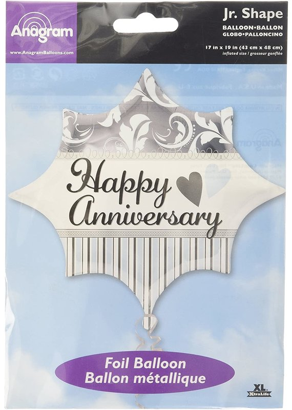 ****Elegant Happy Anniversary Shaped Mylar Balloon