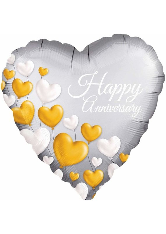 ****Satin Anniversary Platinum Heart Mylar Balloon
