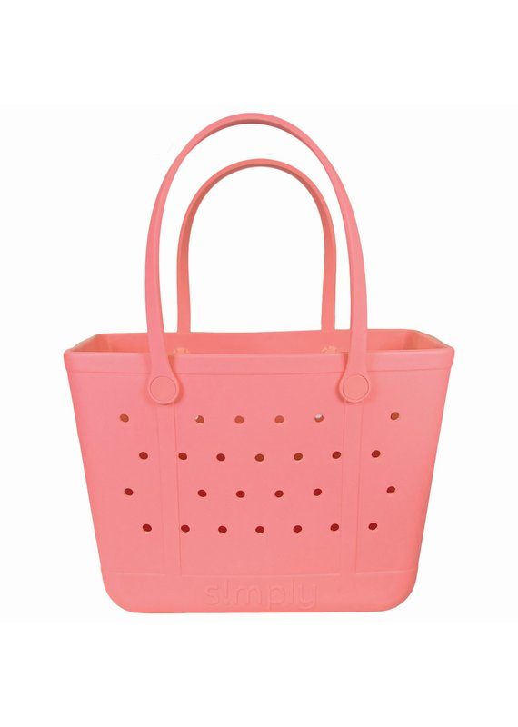 ****Simply Southern Large Waterproof Tote Bag in Coral