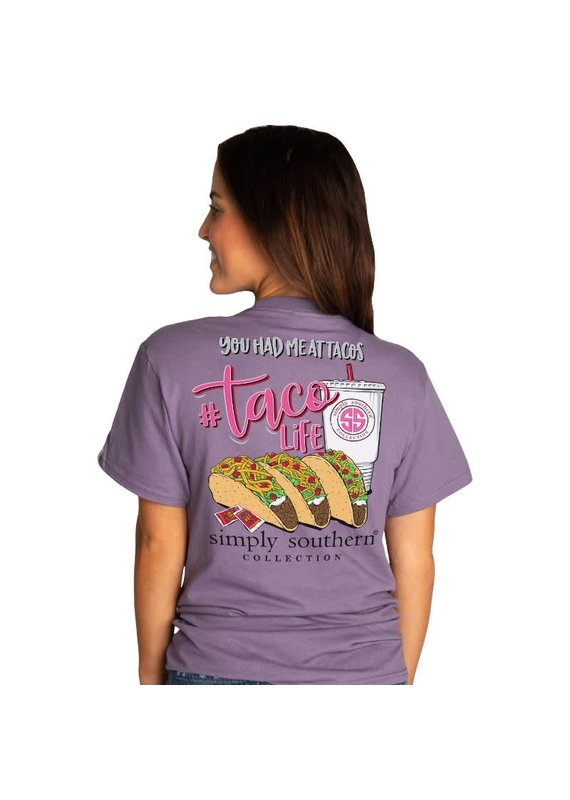 ****Simply Southern Short Sleeve Taco Life Plum ( Taco Bell/Chipotle)