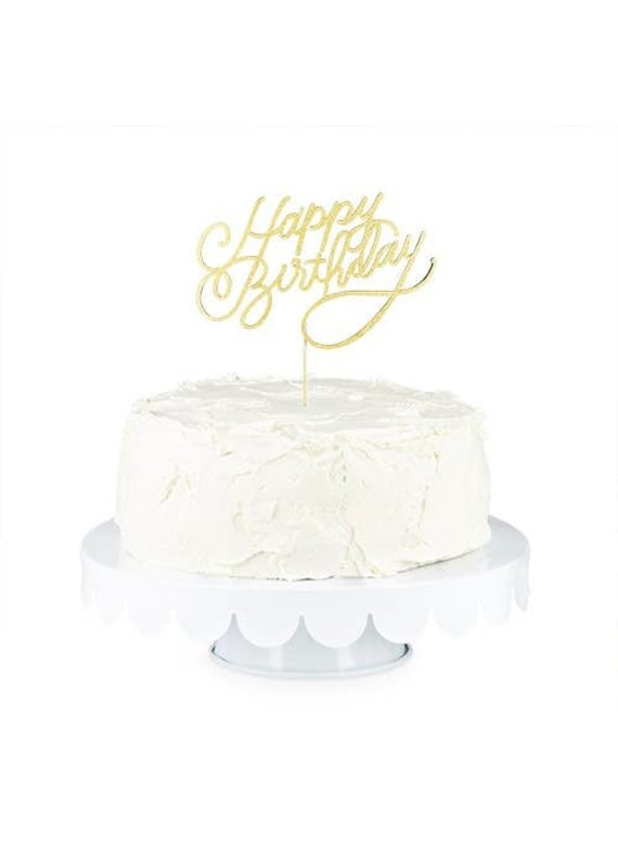 "Cakewalk ****Gold Happy Birthday Paper Cake Topper 9.5"" tall"