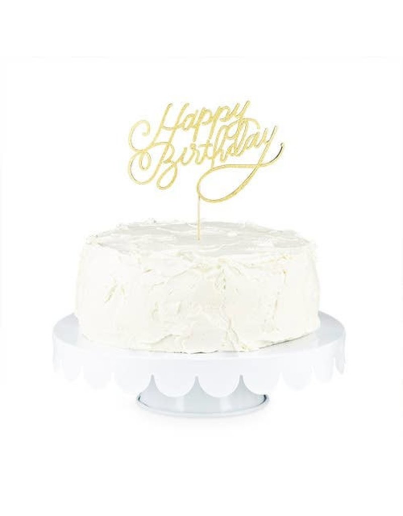 """Cakewalk ****Gold Happy Birthday Paper Cake Topper 9.5"""" tall"""