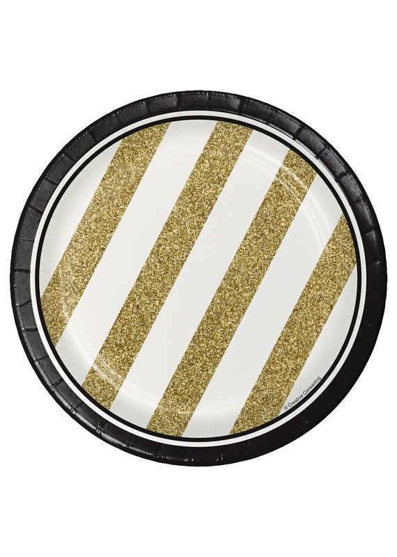"****Black & Gold 7"" Dessert Plates 8ct"
