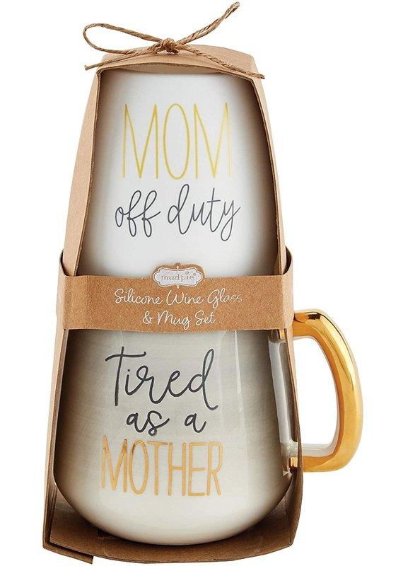 ****Mom Silicone Wine Glass Set (Grey)
