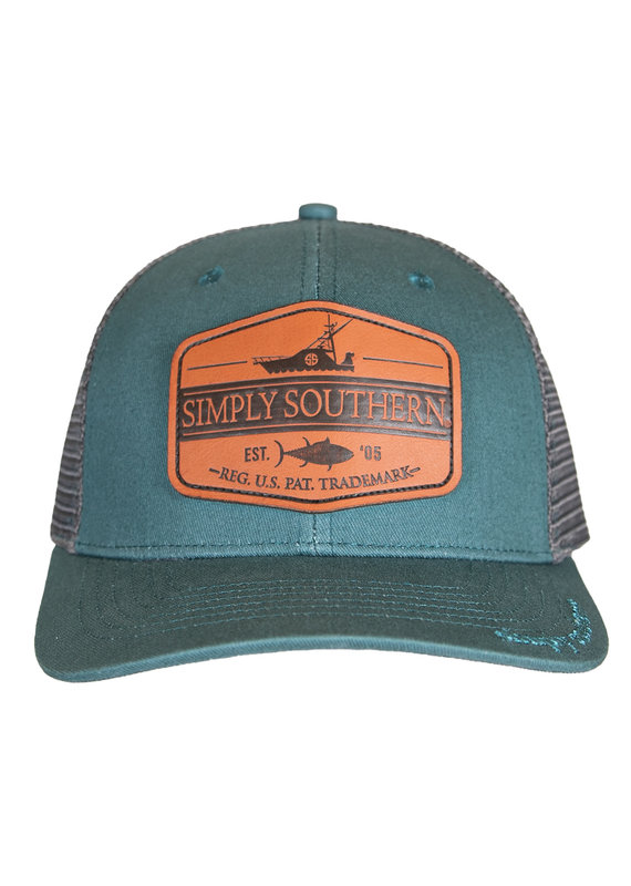 ****Simply Southern Guys Hat Leather Deep Sea