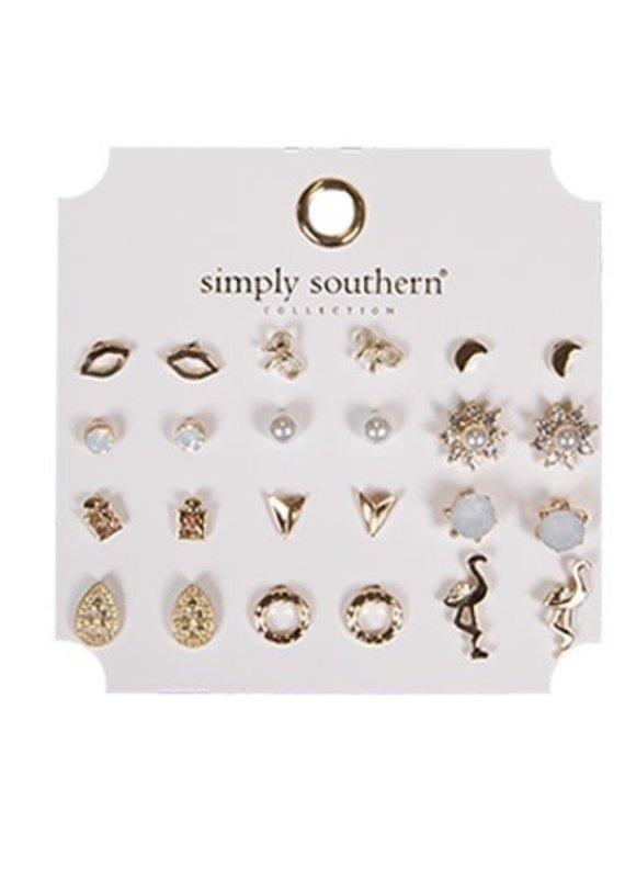 ****Simply Southern Stud Earring Set Flamingo