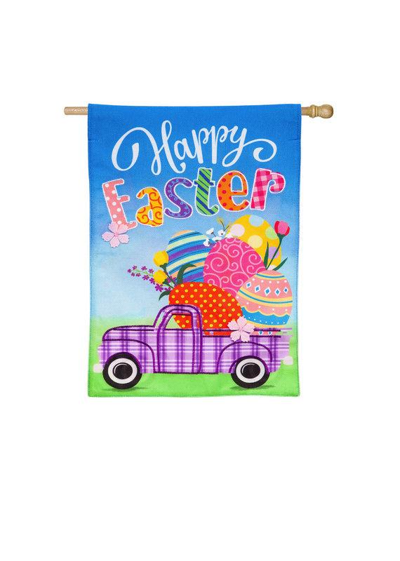 ****Easter Plaid Truck Burlap House Flag