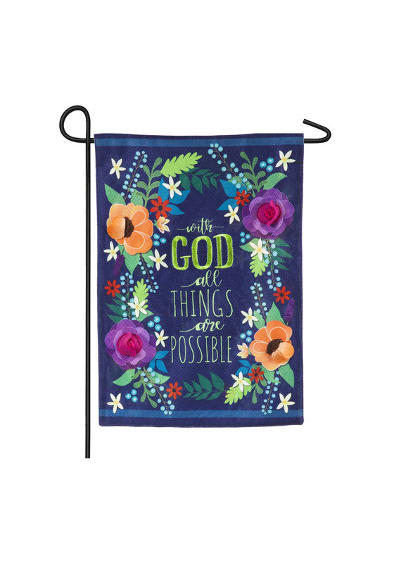 ****All Things Are Possible Garden Burlap Flag